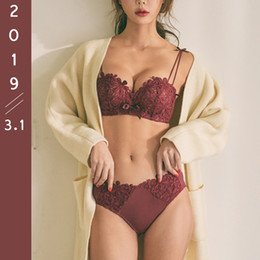 Wholesale black lingerie red embroidery resale online - Lace Push Up Bra And Panties Set Deep V Sexy Lingerie Bras For Small Breast Bow Embroidery Women Underwear Set Red Black A B Cup