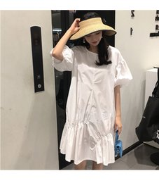 fairy style dresses Australia - 2019 Fashion Summer Irregular Wrinkles Korean Style Super Fairy Long Lantern Sleeve Loose Two-Color Skirt Dress