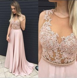 blush prom dresses beaded NZ - 2019 Blush Pink Prom Dresses Luxury Beaded Pearls Sheer Neck Jewel Sweep Train Lace Appliqued Formal Evening Gown Custom Made