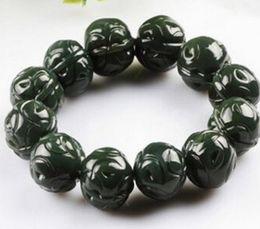 $enCountryForm.capitalKeyWord Australia - Men and women models round bead jade bracelets Natural Hetian jade Xinjiang sapphire carving walnut bracelets