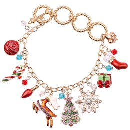 Festival jewelry online shopping - Christmas Elk Snowflake Gift Box Santa Claus Enamel Crystal Bracelet Fashion Festival Jewelry For Women Kids Gift