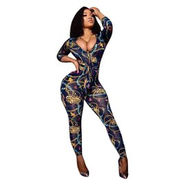 $enCountryForm.capitalKeyWord UK - Women Designer Jumpsuits One Piece Suits Gold Chains Print Skinny Fit Outfits V-neck Sexy Long Sleeved Pants