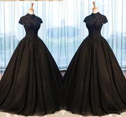 $enCountryForm.capitalKeyWord Australia - 2019 Black Lace Evening Dresses Ball Gowns High Neck Applique Beaded Empire Waist Princess Prom Dresses Graduation Dress Women Plus Size