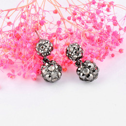 $enCountryForm.capitalKeyWord Australia - Vintage Black Cubic Zirconia Double Ball Stud Earrings Female Girl Fashion Costume Jewelry Accessories Es003 SSD