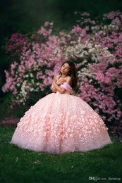 $enCountryForm.capitalKeyWord Australia - Pink Ball Gown Flower Girl Dresses for Wedding 2020 Off The Shoulder Lace Beaded Girls Pageant Dress First Communion Gowns Party Wear