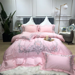 embroidered duvet cover sets queen Australia - Luxury Egpt cotton Bedding set queen king size bed sheet embroidery duvet cover bed set pillowcase bed sheet set