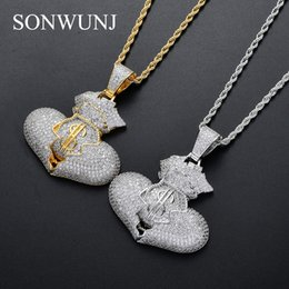 $enCountryForm.capitalKeyWord Australia - Bling bling Broken Heart with US money bag Pendant Brass Micro pave with CZ stones Necklace Jewelry HIP HOP CN079