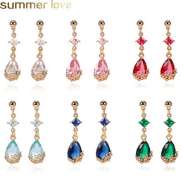 designer copper jewelry Australia - New Korean Waterdrop Crystal Dangle Earrings For Women Gold Copper Long Drop Earring Designer Jewelry Party Holiday Christmas Gifts