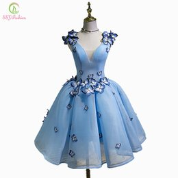 $enCountryForm.capitalKeyWord Australia - wholesale New Sexy Cocktail Dress The Bride Banquet Sky Blue V-neck Sleeveless Backless Butterfly Party Ball Gown Custom