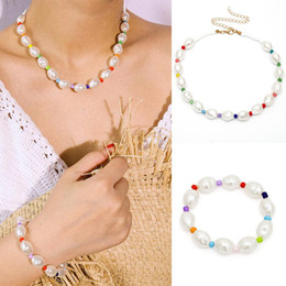 $enCountryForm.capitalKeyWord Australia - Women's Jewelry Wild Color Short Payments Jewelry Shaped Oval Pearl Pearl Beads Women's Necklace Bracelet