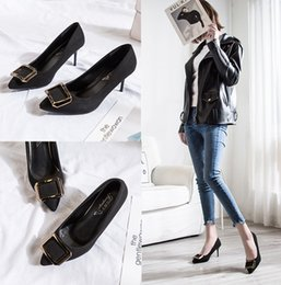$enCountryForm.capitalKeyWord Australia - Fancy2019 High-heeled Woman Autumn All-match Sharp Shallow Mouth Metal Buckle Occupation Single Fine Shoes With Sexy