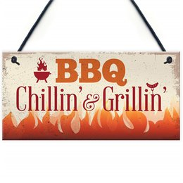 Outdoor Sheds NZ - BBQ Chillin & Grillin Barbecue Outdoor Garden Plaque Kitchen Bar Shed Sign Gift For Dad