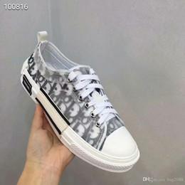 Venta al por mayor de Hombre y mujer Pareja Zapatos Moda Banda baja zapatos casuales Carta gris Encaje fondo plano Tamaño cómodo 35-45