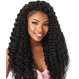 Discount synthetic afro hair braid - Fashion Water Wave Crochet Braids Afro Kinky Curly Twist Braids Black Kanekalon Braiding Marly Hair Extensions for Women