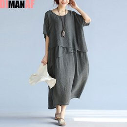 44a0987d6c7 Hawaiian Dresses Canada - Summer Plus Size Women Dress Solid Print Linen  Ruffle Hawaiian Beach Female