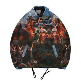 Wholesale black bomber jackets resale online – New Harajuku Character Pattern Jacket Men loose lapel Streetwear Homme Windbreaker Bomber Jacket