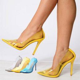 Discount high heels pumps stilettos shoes - Clear PVC Transparent Pumps Sandals Thin Heel Stiletto High Heels Point Toes Womens Party Shoes Nightclub Pumps