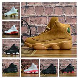 Chinese  13s kids basketball shoes Bred Black Cat Defining Moments Wheat Pink Love And Respect Trainers Sports Designer Shoes with box size EU28-35 manufacturers