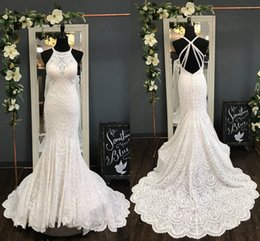 Ruched Halter Wedding Dresses Australia - High Quality Lace Mermaid Wedding Dresses Real Photo Halter Ruched Criss-Cross Back Court Train Cheap Wedding Dress Bridal Gowns Cheap