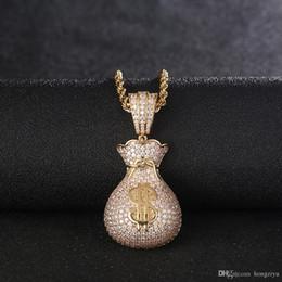 Necklace Bag Pendant Australia - New Dollar Money Bag Pendant With Free Chain Gold Color Cubic Zircon Men's Hip hop Necklace Women Jewelry For Fashion