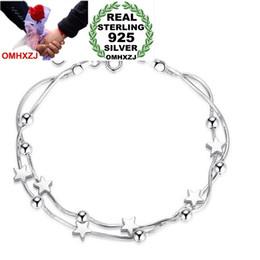 $enCountryForm.capitalKeyWord NZ - OMHXZJ Wholesale Fashion Sweet Lovely Woman Couple Girl Party Gift Beads Cube Pentagram 925 Sterling Silver Bracelet Bangle SZ92