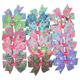 $enCountryForm.capitalKeyWord UK - 20pcs 20 Colors Lilly Printed Grosgrain Ribbon Bows Clips Girl 'S Hair Boutique Headware Hair Accessories Mix