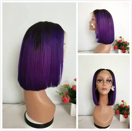 purple brazilian hair 2019 - Short Pixie Cut 1B Purple Ombre Human Hair Bob Wig Malaysian Straight Lace Front Wigs For Black Women Cheap Colored Purp