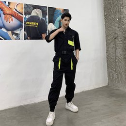 chain print pants 2019 - New Men Metal Chain Short Sleeve Casual Shirt Jumpsuit Pant MaleTooling Streetwear Hip Hop Harem Trousers Cargo Overalls