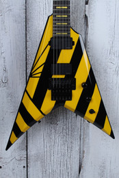 Black v guitars online shopping - Custom Shop Wash Parallaxe V2FR Michael Sweet USA Flying V Black Yellow Stripe Electric Guitar Floyd Rose Tremolo Tailpiece Yellow Inlay