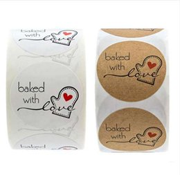 Cake Labels Australia - 500pcs Roll Made With Love Heart Handmade Cake Packaging Sealing Label Natural Kraft Sticker Baking DIY Gift Stickers #RN
