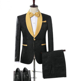 Chinese  Mens Jacquard Gold Shawl Lapel Suit Party Groom Wedding Groom Tuxedos Blazer Mens Suits With Floral manufacturers