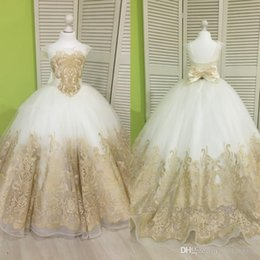 $enCountryForm.capitalKeyWord Australia - Princess Little Flower Girl Dresses Cap Sleeves Gold Applique Kids Formal Wear Lace Up Free Shipping Girls Pageant Dresses34