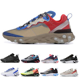 Leather seam online shopping - React Element Sneakers Men Volt Game Royal Taped Seams Running Shoes Women Men Blue Chill Trainer s Sail Sports shoes
