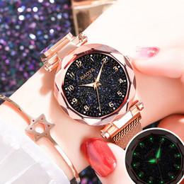 Bright Blue Watches Australia - Zegarek Damski Luxury Rose Gold Women Watches Fashion Quartz Ladies Starry Sky Bright Clock Magnetic Mesh Female Wristwatch