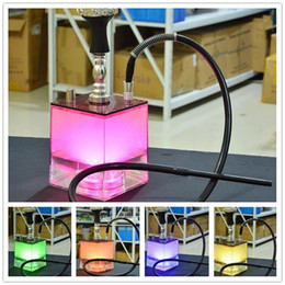 acrylic water glasses Australia - 13 inches Acrylic Square Remote Controlled LED Light Glass Water Pipe Tobacco Smoking shisha Cigarette Filter Arabian Hookah Pipes Set