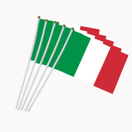 italy flags Australia - Italy Flag 21X14 cm Polyester hand waving flags Brasil FLAG Country Banner With Plastic Flagpoles
