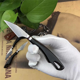 $enCountryForm.capitalKeyWord Canada - High Quality Small Damascus Fixed Blade Kitchen Knife VG10 Damascus Steel Blade Ebony Handle Damascus Fruit Knives With Leather Sheath