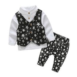$enCountryForm.capitalKeyWord Australia - quality children boys clothing sets spring autumn cotton shirt+vest+pants 3pcs suits kids star printing boys long sleeve sets