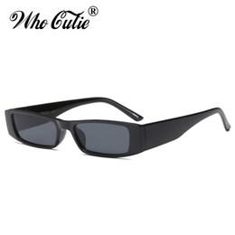 e7f6b2133a74 Luxury- WHO CUTIE Narrow Rectangle Chunky Sunglasses Women Men Brand  Designer 2018 Retro Vintage Thick Rectangular Frame Sun Glasses 667