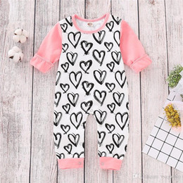 pink heart tutu NZ - New Spring INS Cute Toddler Baby Girls Love Heart Prnting Rompers Fall Long Sleeve Round Collar Jumpsuits Cotton Bodysuits Onesies 0-2T
