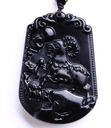 $enCountryForm.capitalKeyWord Australia - Natural Black Chinese carved sheep obsidian amulet necklace pendants for women and men