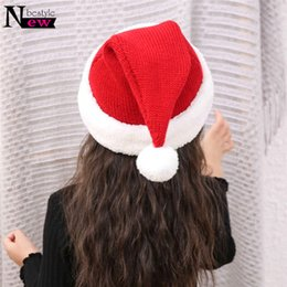 2ad9f00f9bc Baby Girl Santa Hat NZ - Baby Knitted Hat Children Thickened Wool Christmas  Hat Winter Hats
