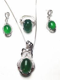 Green Gemstone Jewelry Sets Australia - Koraba 3pcs 925 Sterling Silver Natural Green Jade Gemstone Pendant Necklace Bracelet Earrings Women Jewelry Set