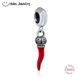 $enCountryForm.capitalKeyWord UK - Haha Jewelry Dangle Corno Charm Italian Red Enamel Horn Bead 925 Sterling Silver Chili Pepper Beads for Pandora Charms Bracelet 791361EN09