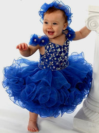Discount cupcake cheap - 2019 Royal Blue Infants Toddler Cupcake Girls Pageant Dresses Ruffles Organza Bows Beaded Sequins First Communion Flower