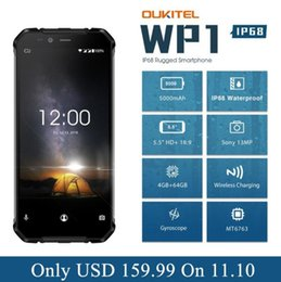 "Water Proof Phones Australia - OUKITEL WP1 4GB 64GB Cell Phone Android 8.1 5.5"" 18:9 5000mAh MTK6763 Octa Core Wireless Charging Tri-proof Smartphone"