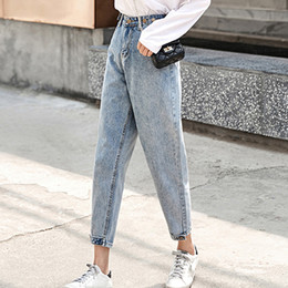 2fb10b57349351 Vintage Baggy Boyfriend Jeans For Women With High Waist Jeans Ankle Length  Harem Denim Pants Woman Mom Casual Adjust Waist Pants