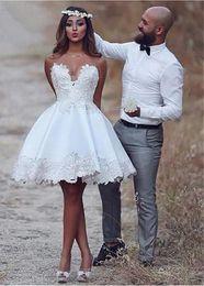 Strapless Satin Short Wedding Dresses Australia - A-line Satin Short Wedding Dresses 2019 New Sweetheart Strapless Lace Appliques Women Informal Outdoord Brdial Gowns Short Length Custom