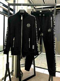 Nouvel ensemble de survêtement de luxe pour hommes de Phillip Plain Tracksuit 2019, nouveau ensemble de sweatshirt pour hommes, ensemble 2 pièces, veste + pantalon en Solde
