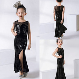 $enCountryForm.capitalKeyWord Australia - 2019 Cute Kids Formal Wear Black Sequins Flower Girls Dresses For Wedding Children Pageant Dresses Ball Gown